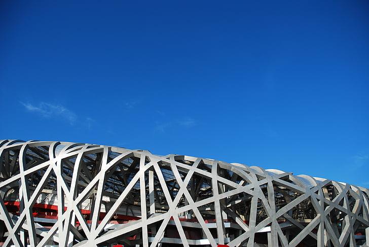 Pequín, edifici, Estadi, estructura d'acer, arquitectura, estructura de construcció, blau