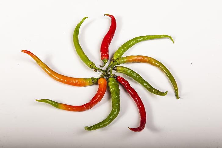 paprika, Vürtsikas, Värvid, roheline, punane, tšillipipra, chili