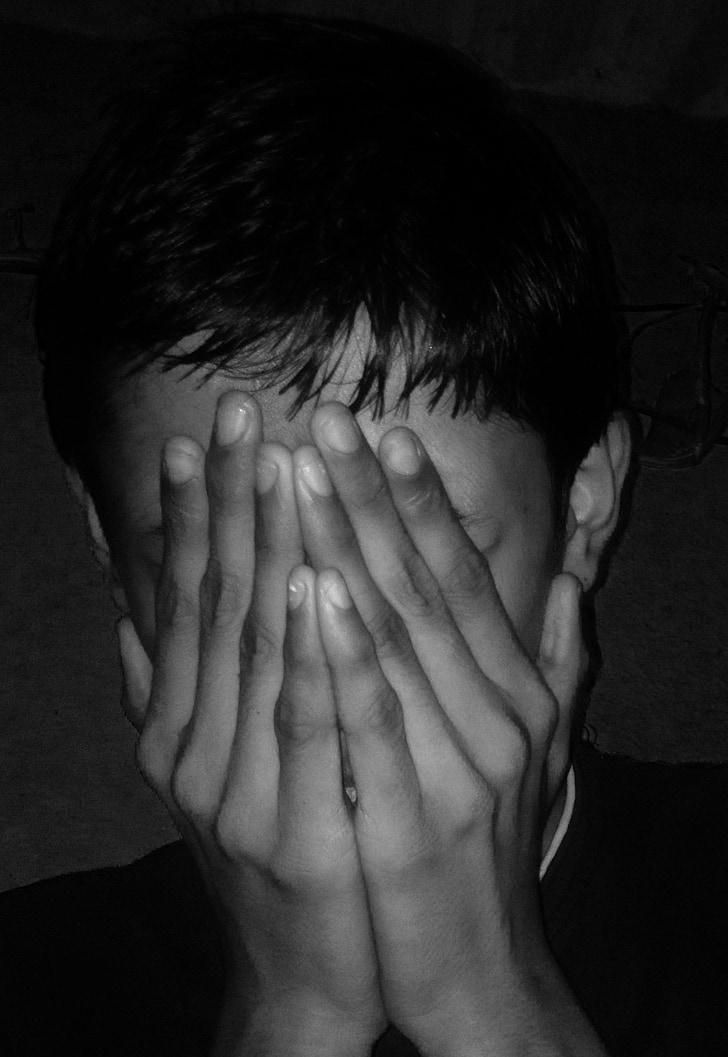 Buồn, tối, sợ, ẩn, khuôn mặt, sợ hãi, nỗi sợ hãi