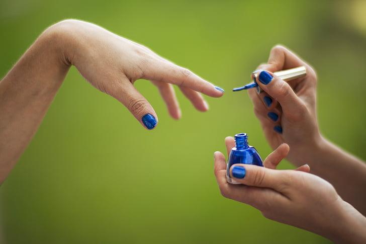 roheline, sinine, sõrme, EL, lakk, Luxury, lõõgastus