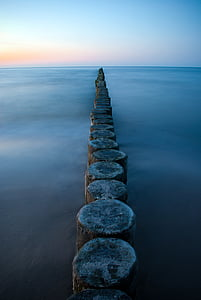 groynes, sea, baltic sea, beach landscape, evening sun, northern germany, sunset