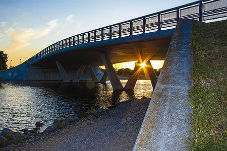 puesta de sol, puente, Marina, Puente - hombre hecho estructura, Río, arquitectura