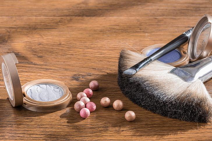 make-up, kozmetiky, prášok do gulí, kozmetických štetcov, očné tiene, tieň, Maľovanie očí