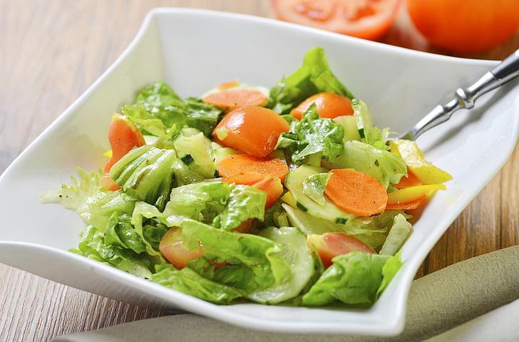 food photography, vegetable salad, salad, salmon, food