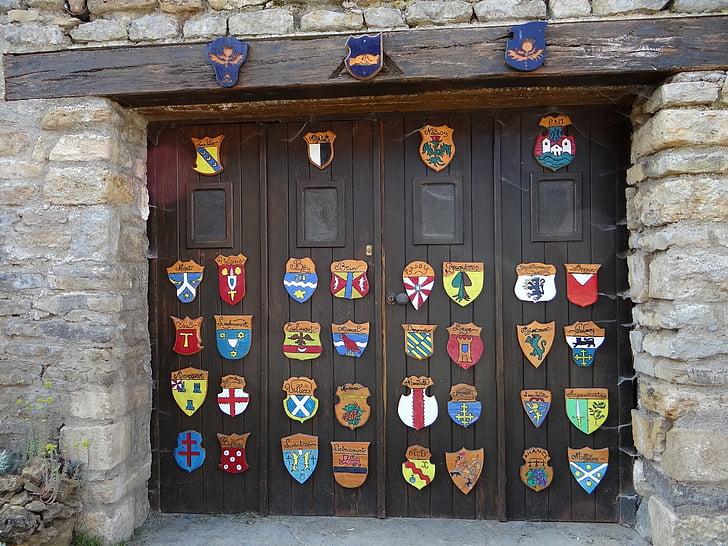 coat of arms, garage, door, lorraine, amance, cities, original
