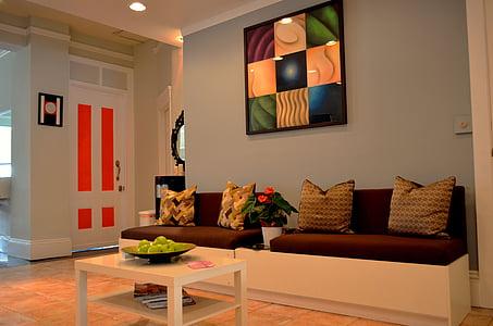 Apartament, cadira, sofà, mobles, casa, casa, l'interior