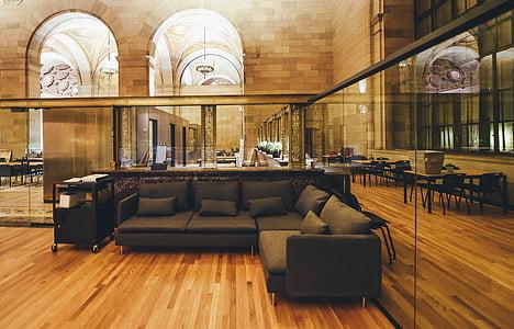cadira, contemporani, sofà, pis, mobles, vidre, l'interior