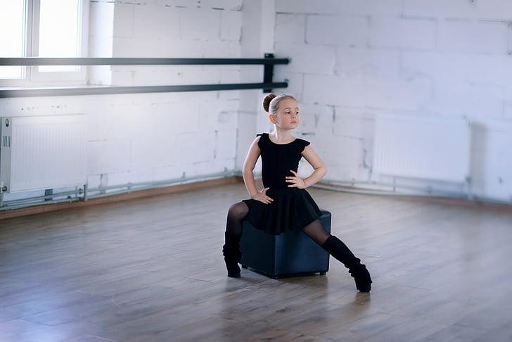 balets, meitene, bērnu, balerīna, deja, kaukāziešu, mazulis