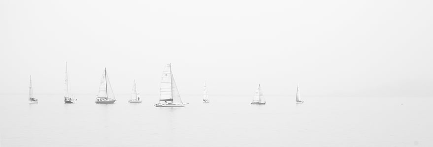 sailing boats, sailing, ocean, boats, foggy, misty, group