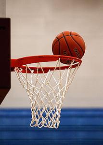 bàsquet, xarxa, puntuació, vora, cèrcol, pilota, objectiu