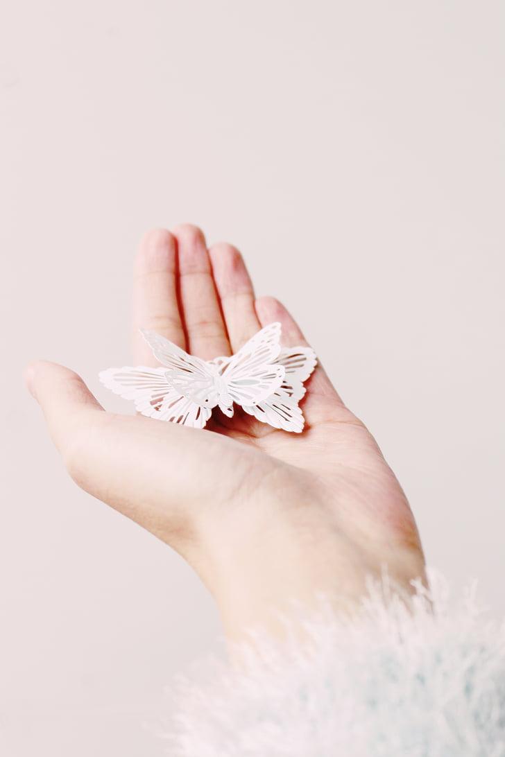 hand, vrouw, Woman's hand, vrouw, vlinder, sluiten, meisje