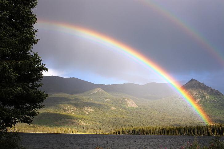 arco-íris, chuva, arco, Lago de Palmer, Atlin, cores do arco-íris, arco-íris duplo