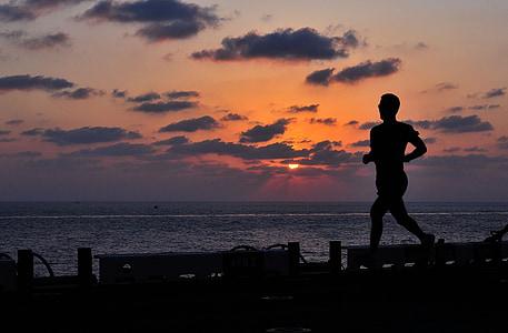corredor, gimnàs, corrent, vaixell, atleta, resistència, ajust