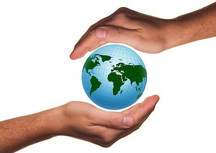 protecció, protegir, mà, grapat de, terra, globus, món