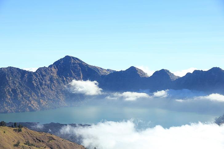 mountain, mountain view, rinjani, lombok, indonesia, sky, nature