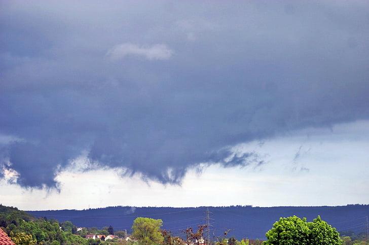 дъжд фронт, облаците, времето, синьо, дъжд, настроение, Драма