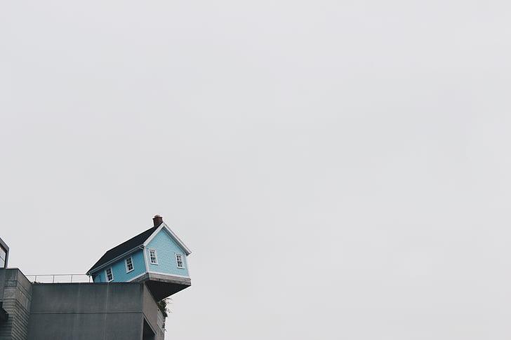 living on the edge, home, house, teeter, teetering, edge, cliff