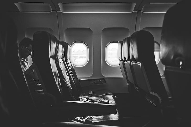 グレースケール, 写真, 飛行機, 席, 飛行機, アイル, windows