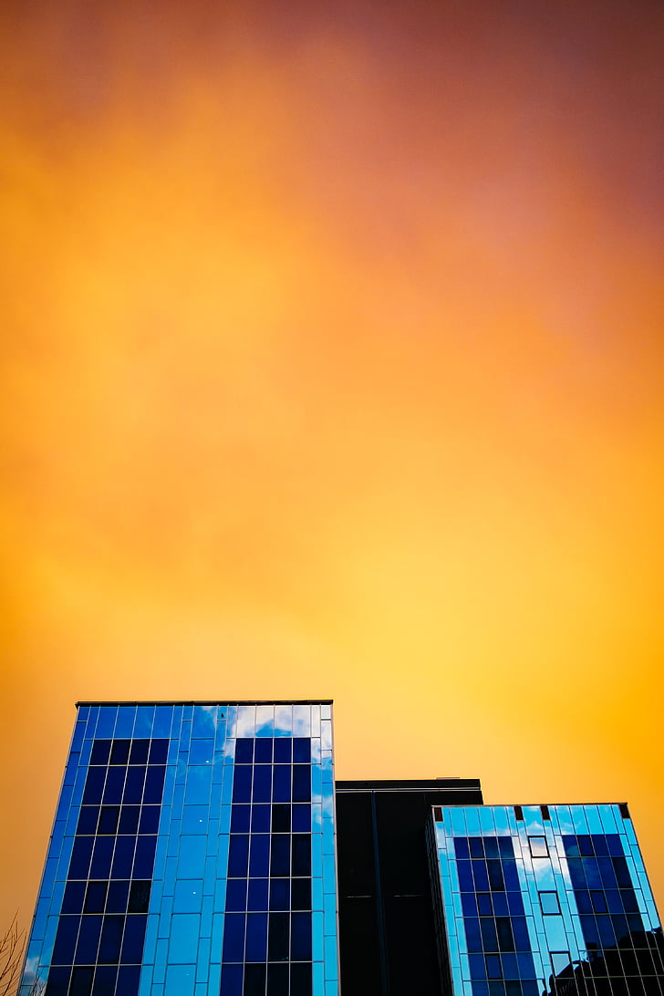 baixa, angle, fotografia, alta, augment, edifici, posta de sol