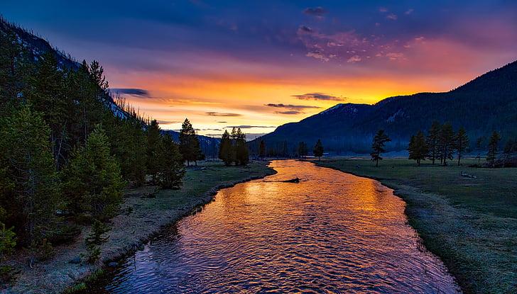 yellowstone national park, sunset, twilight, dusk, evening, silhouettes, landscape