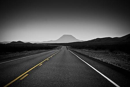 blanc i negre, desert de, Texas, backroads, carretera, el camí a seguir, punt de fuga
