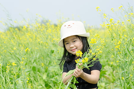 little, flower reform, field, girl, young, flower, nature