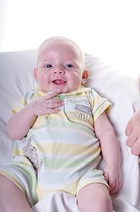 baby, cute, boy, smiling, suckling, infant
