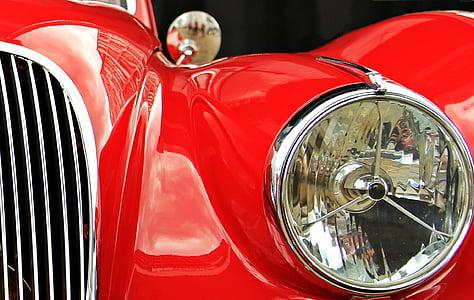 jaguar, Oldtimer, vermell, auto, clàssic, automoció, cotxe vell