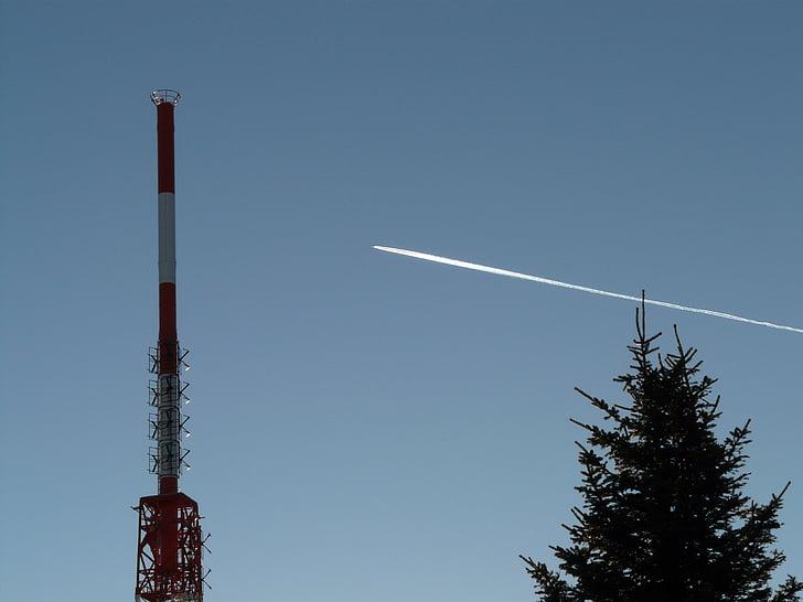 라디오 타워, 라디오 돛대, greened, 송신 탑, 항공기, contrail, 비행
