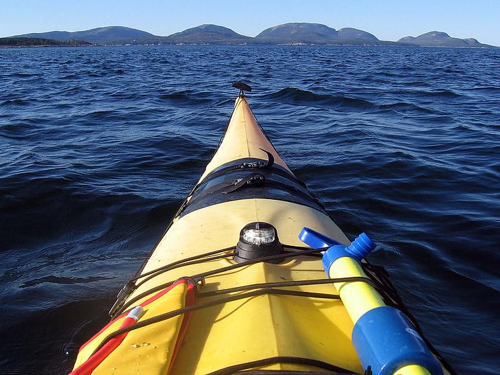 Acadia nacionālais parks, Maine, smaiļošana, kajaks, jūra, okeāns, ūdens