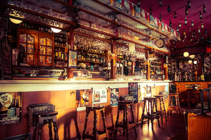 Baar, pubi, kohvik, loomine, väljaheide, Counter, alkoholi