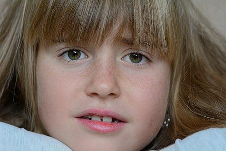 lidské, dítě, Děvče, Blondýna, obličej, zoufalý, portrét