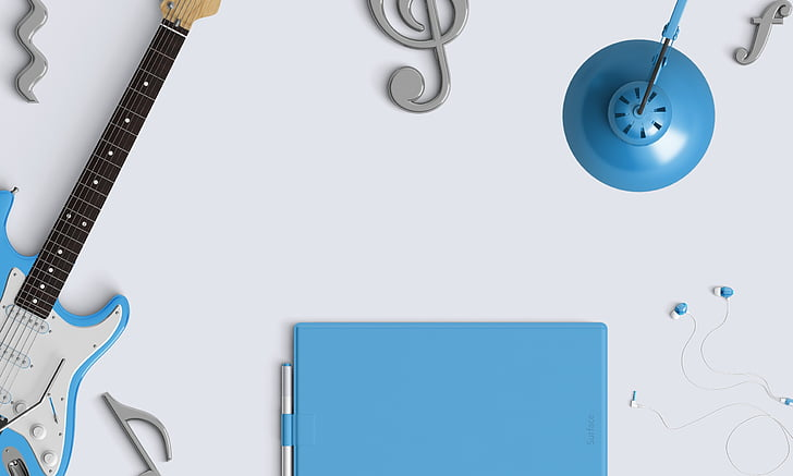 música, taula de treball, àudio, auriculars, guitarra, earbuds, equips