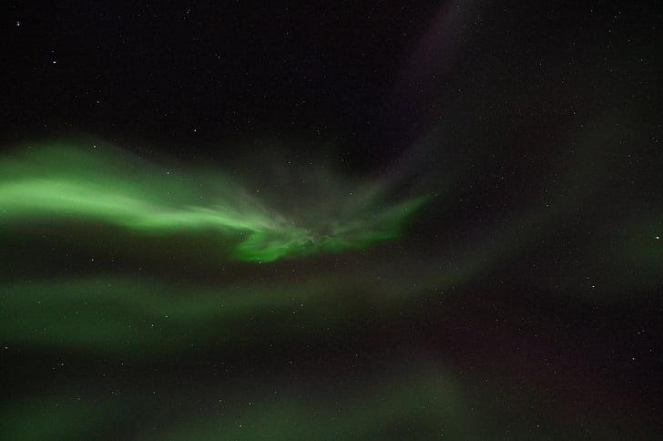 nordlys, aurora borealis, solvinden, lys fænomen, grøn, lys, elektroner