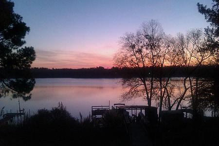 Alba, Llac, Alba d'hivern, arbres, cel al matí, cels, natura
