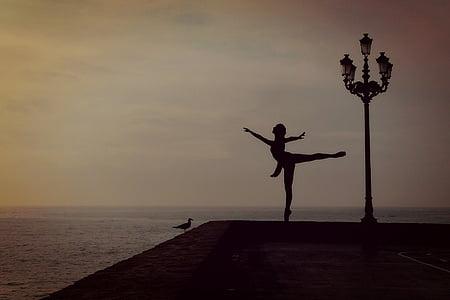 dancer, woman, girl, ballet dancer, dance, top dance, sea