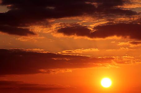 일몰, 태양, 구름, 어두운 구름, abendstimmung, 석양, 저녁 하늘