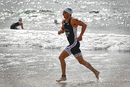 corredor, competència, triathalon, platja, atleta, gimnàs, home