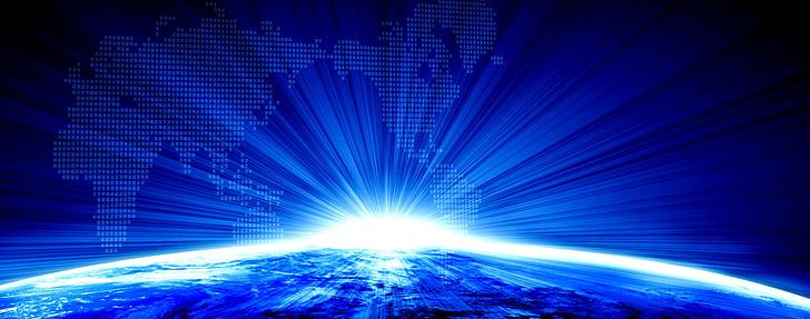 entreprise, Terre, arrière-plan, bleu, Résumé, technologie, futuriste