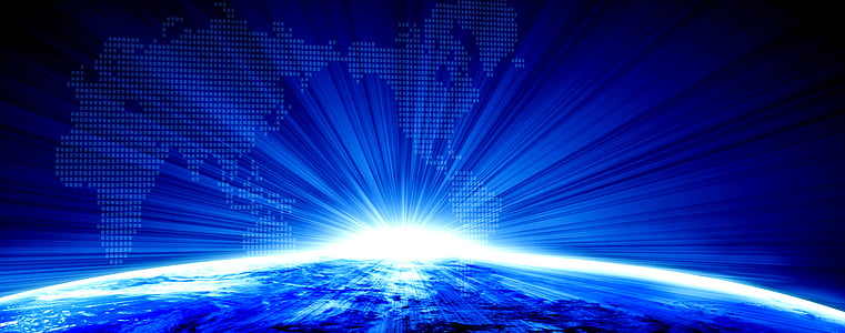 negoci, terra, fons, blau, resum, tecnologia, futurista