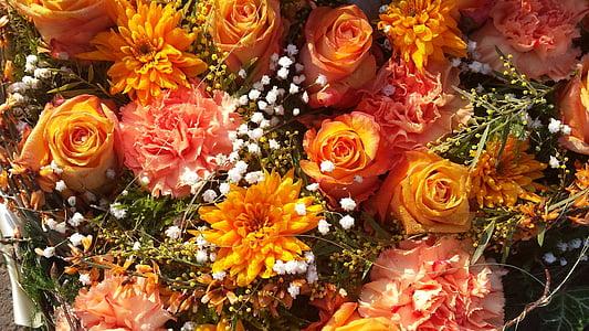 オレンジ色の花, 花, オレンジ, 自然, 花束, イエロー, 花