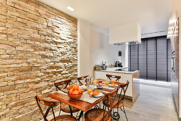 dining room, kitchen, modern style, facing wall, stone wall, brickwall, modern decor