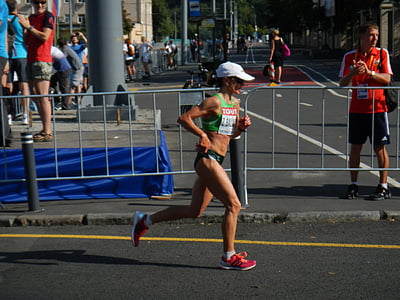 corredor, cursa, competència, femella, atleta, actiu, Jogger