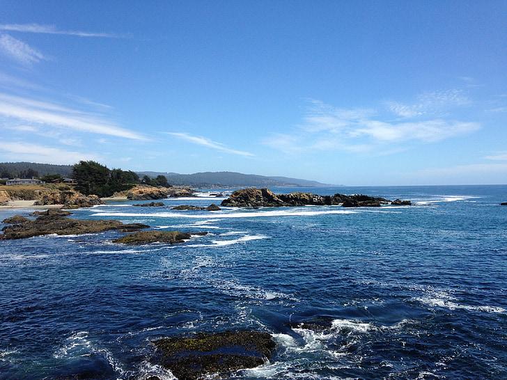 Pacífico, Océano, California, paisaje marino, Costa, azul, soleado