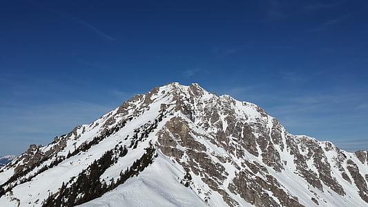 ponten, Allgäu, zimowe, Tannheim, szczyt, góry, alpejska