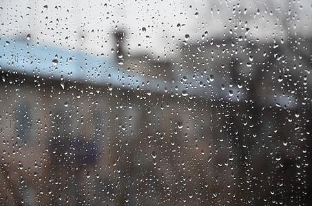 raindrops, window, rain, glass, blur, drops, weather