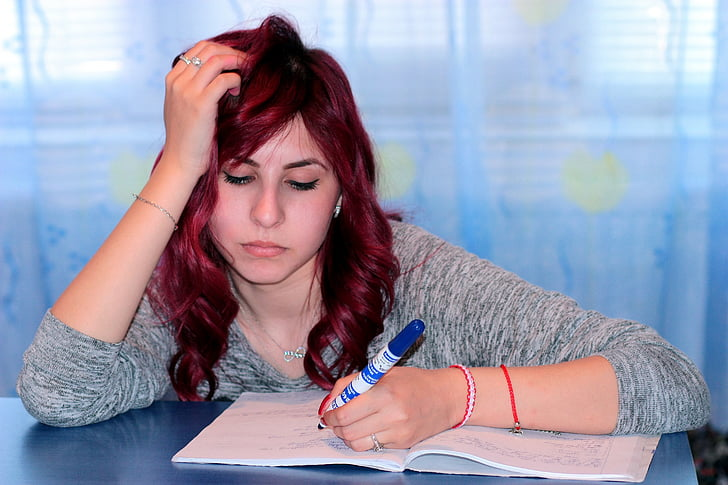 study, girl, writing, notebook, learning