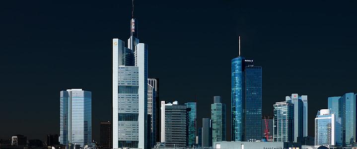 panoraam, pilvelõhkuja, kõrghooneid, arhitektuur, Frankfurt, hoone, kaasaegne