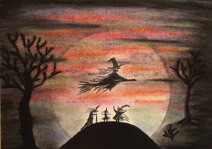 witch, night, fairy tale, fly, broomstick, broom, dream