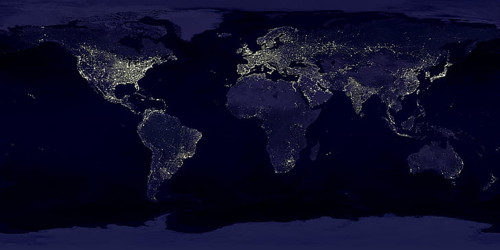earth, earth at night, night, lights, lighting, space, space travel